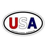 USA Oval Bumper Sticker. Red, White and Blue USA