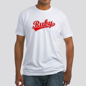 Retro Ruby (Red) Fitted T-Shirt