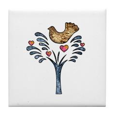 Valentine Art Tree and Bird Tile Coaster