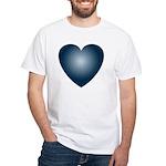 Valentine Art Navy Heart White T-Shirt