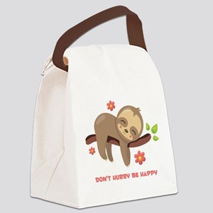 Don't Hurry Sloth Canvas Lunch Bag