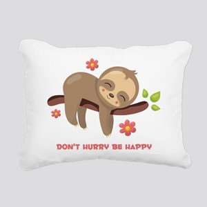 Don't Hurry Sloth Rectangular Canvas Pillow