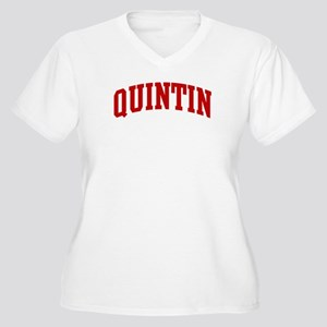 QUINTIN (red) Women's Plus Size V-Neck T-Shirt