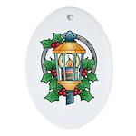 Christmas Art Lantern Oval Porcelain Ornament