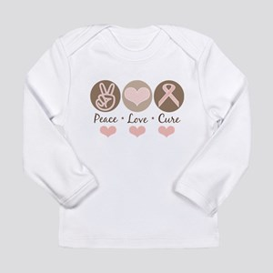 Peace Love Cure Pink Ribbon Long Sleeve T-Shirt