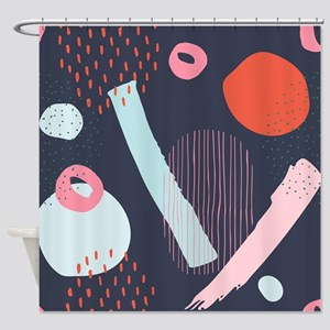 Cute doodling abstract artsy compos Shower Curtain