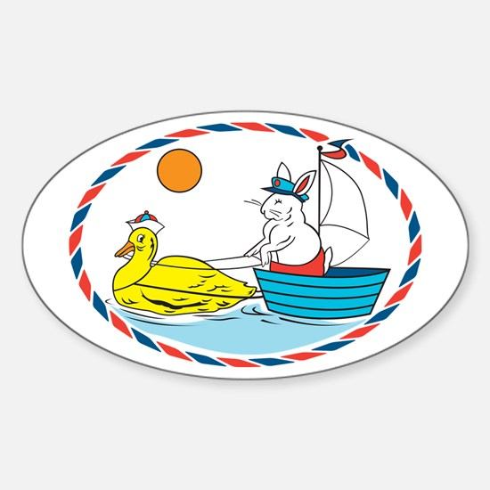 Rabbit Captain Oval Decal