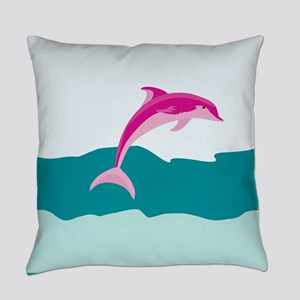 Pink dolphin Everyday Pillow