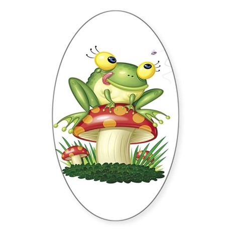 Frog & Toad stool Oval Sticker