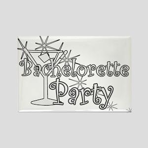 White C Martini Bachelorette Party Rectangle Magne