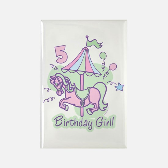 Carousel Birthday Fifth Rectangle Magnet