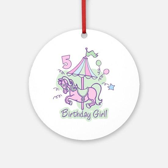 Carousel Birthday Fifth Ornament (Round)