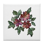 Purple and Green Floral Art Tile Coaster