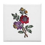 Red and Purple Floral Art Tile Coaster