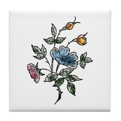 Blue Floral Art Tile Coaster