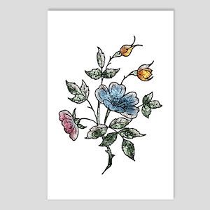 Blue Floral Art Postcards (8)