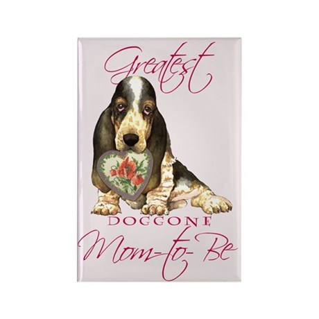 Basset Mom-to-Be Rectangle Magnet