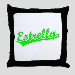 Retro Estrella (Green) Throw Pillow