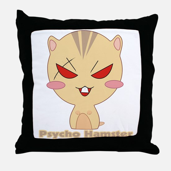 Psycho Hamster Throw Pillow