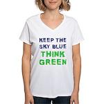 Think Green! Women's V-Neck T-Shirt