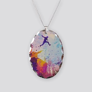 Parkour Urban Obstacle Course Necklace Oval Charm