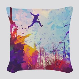 Parkour Urban Obstacle Course Woven Throw Pillow