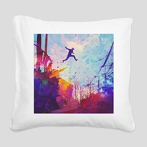 Parkour Urban Obstacle Course Square Canvas Pillow