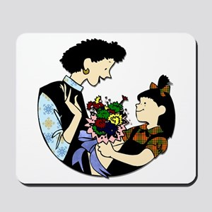 Daughter Giving Mom Flowers Mousepad
