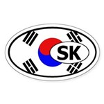 South Korea flag Oval Sticker