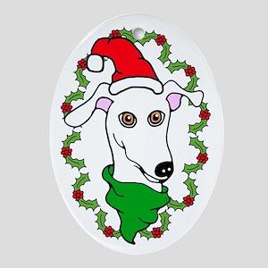 Oval Ornament White Greyhound Holly