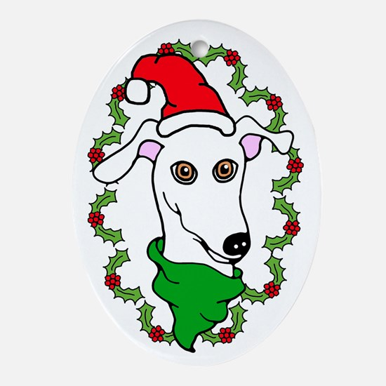 Oval Ornament White Greyhound Holly