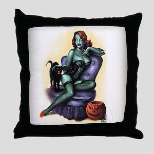 Halloween Zombie Girl Pin Up Throw Pillow
