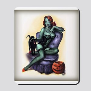Halloween Zombie Girl Pin Up Mousepad