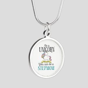 Unicorn Stepmom Silver Round Necklace