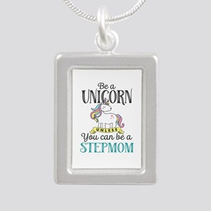 Unicorn Stepmom Silver Portrait Necklace