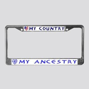 Greek/USA Flag Hearts License Plate Frame