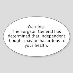 Surgeon Generals Warning - In Oval Sticker