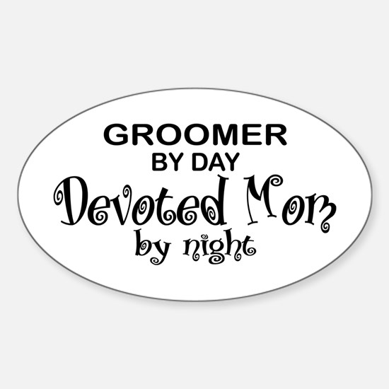 Groomer Devoted Mom Oval Decal