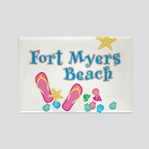 Ft. Myers Beach Flip Flops - Rectangle Magnet