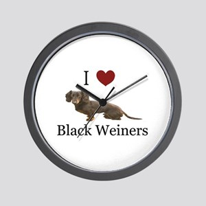 I love Black Weiners Dachshund Wall Clock