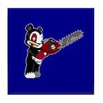 Teddy Bear with chainsaw Tile Coaster