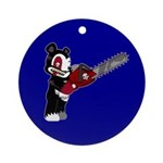 Teddy Bear with chainsaw Ornament (Round)