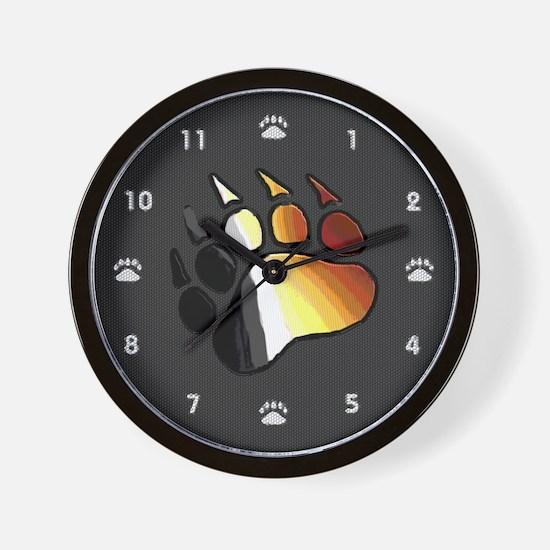 BEAR PRIDE BEAR PAW ON BLACK 2 Wall Clock