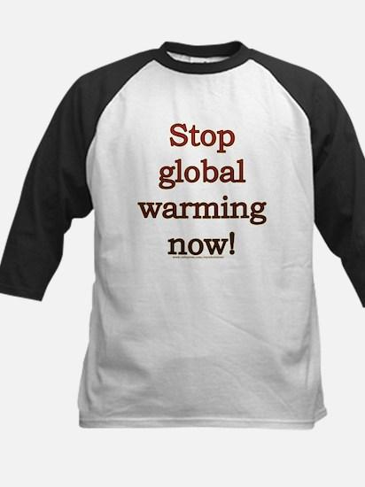 Stop global warming now! Kids Baseball Jersey