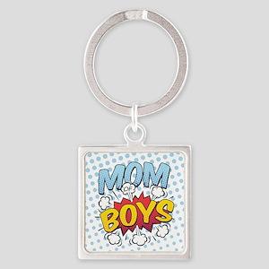 Mom of Boys Square Keychain
