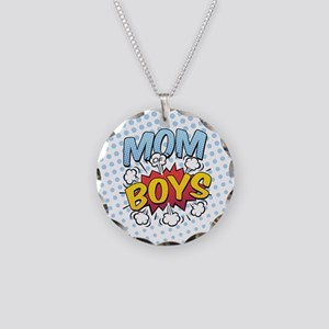 Mom of Boys Necklace Circle Charm