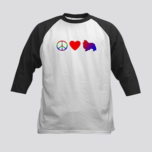 Peace Love Sheltie Kids Baseball Jersey