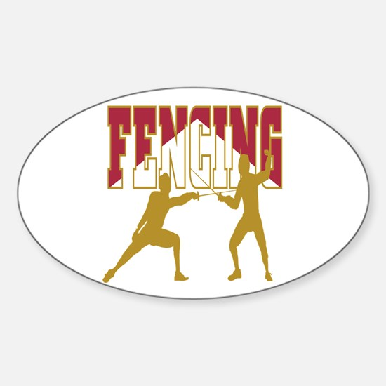 Fencing Logo (Red & Gold) Oval Decal