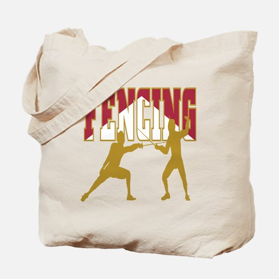 Fencing Logo (Red & Gold) Tote Bag