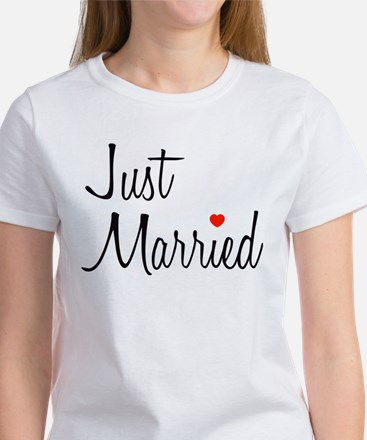 Just Married (Black Script w/ Heart) Women's T-Shi